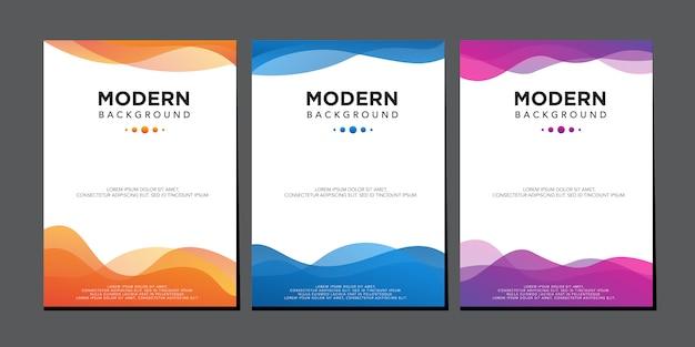 Modern liquid wave colorful gradient cover design vector template Premium Vector