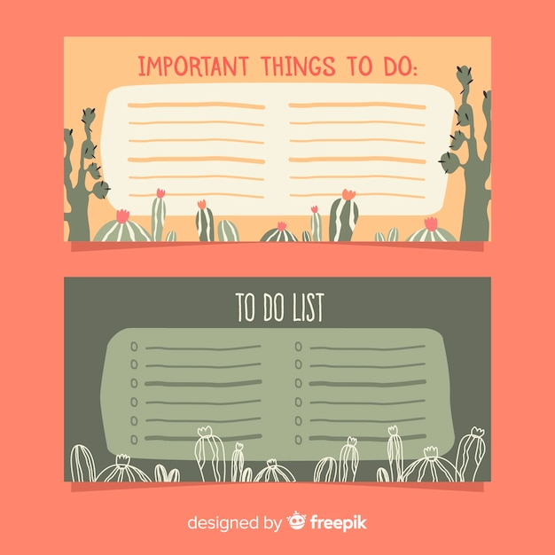 Modern to do list collection with cactus Free Vector