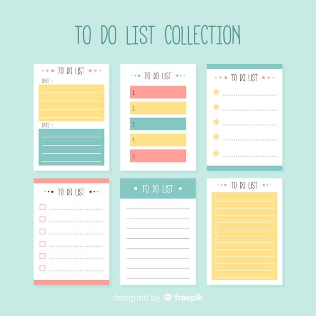 Modern to do list collection with colorful style Free Vector