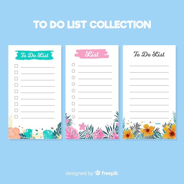 Modern to do list collection with floral style Free Vector