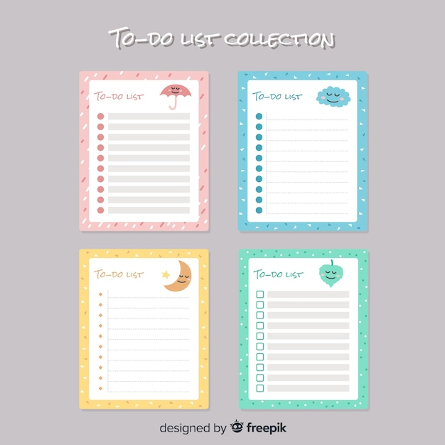Modern to do list collection with lovely style Free Vector