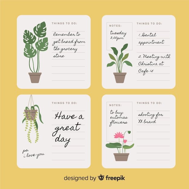 Modern to do list collection with plants Free Vector