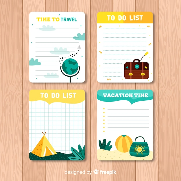 Modern to do list collection with travel elements Free Vector