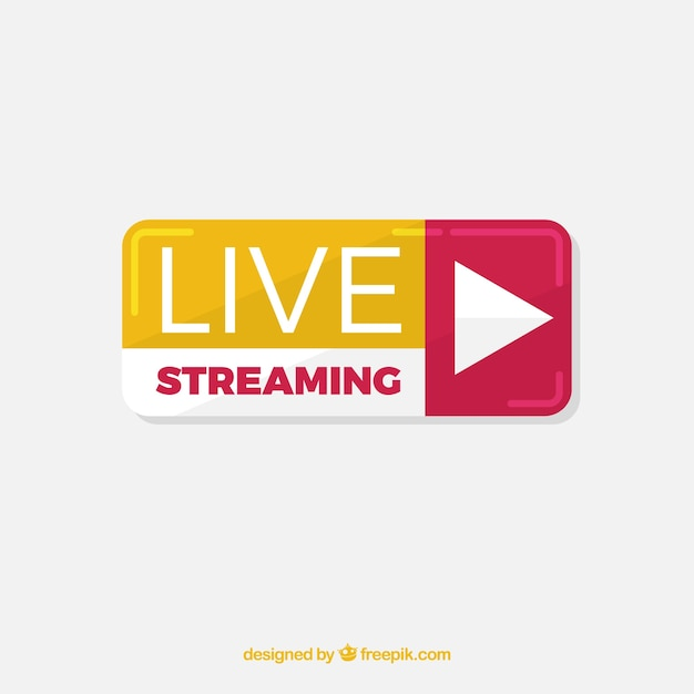 Modern live streaming icon with flat design Free Vector