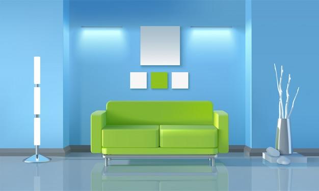 Modern living room design Free Vector