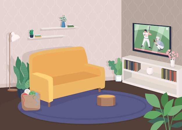 Premium Vector Modern Living Room Flat Color Illustration Watch Television From Sofa Comfortable Couch Near Tv Recreation Time Contemporary House 2d Cartoon Interior With Furniture On Background