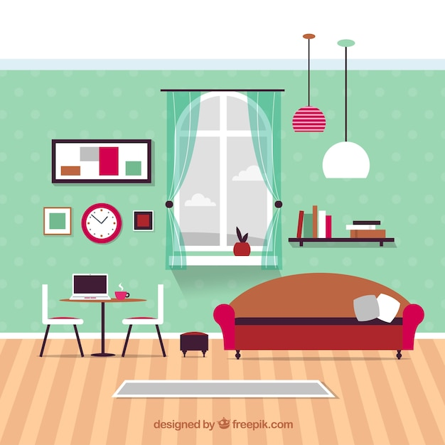 Modern living room furniture vector premium download for Sala de estar animada