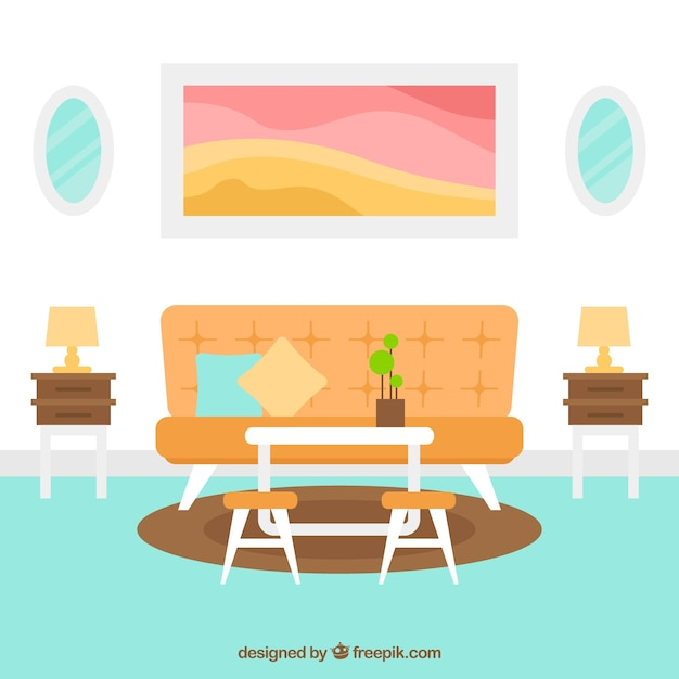 Modern living room in flat design