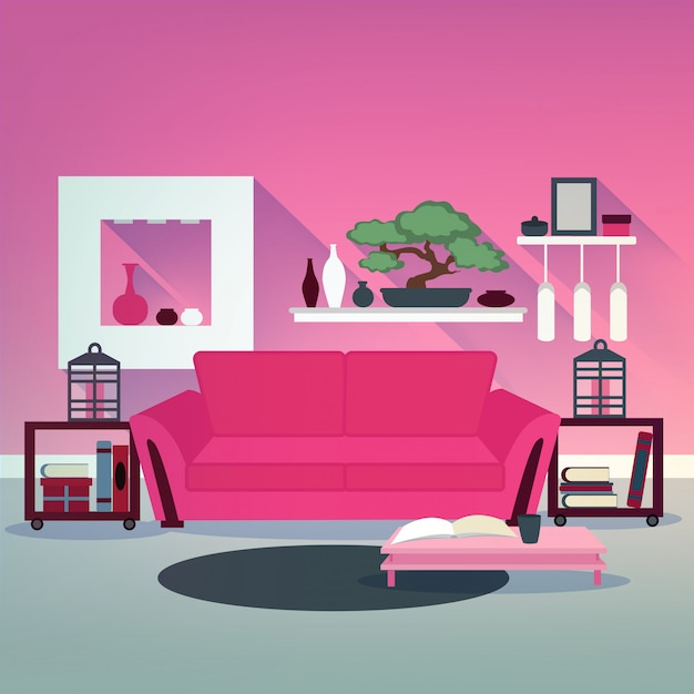 Modern living room interior in asian style with bonsai, sofa and books Premium Vector