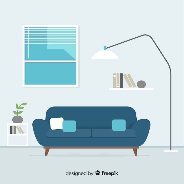 Modern living room interior design with flat design Free Vector