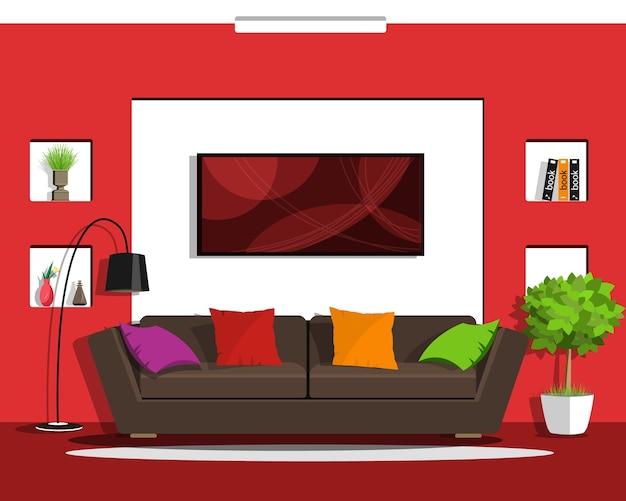 家具付きのモダンなリビングルームのインテリアデザイン。 Premiumベクター