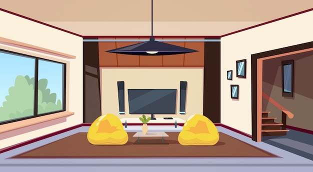 Modern living room interior with bean bag chairs and and big led televison set on wall home cinema Premium Vector