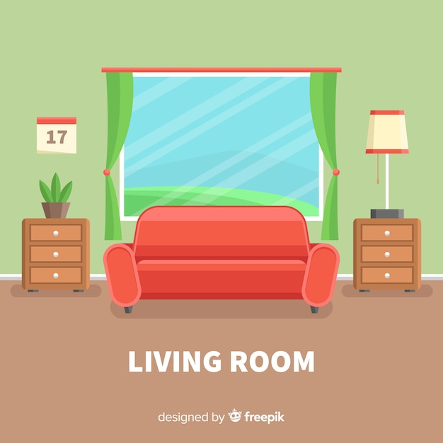 Modern living room with flat design Free Vector