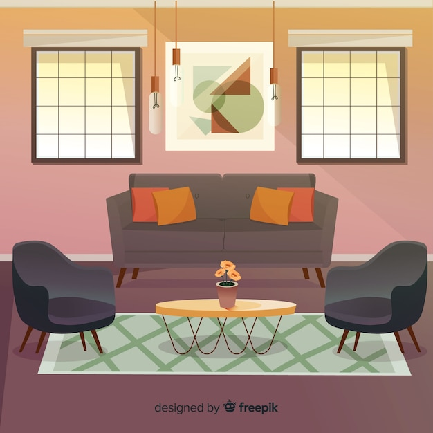 modern living room with flat design vector | free download