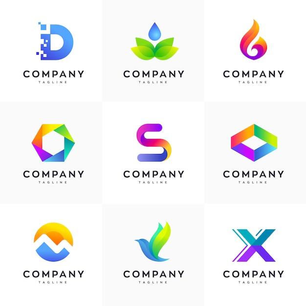Colorful Minimalist Design: Modern Logo Design Template Set, Abstract Logo Set