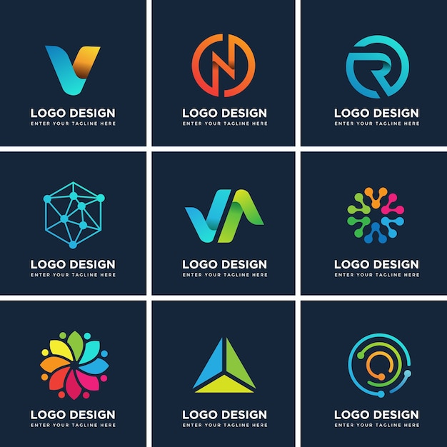 Modern logo design templates set Premium Vector
