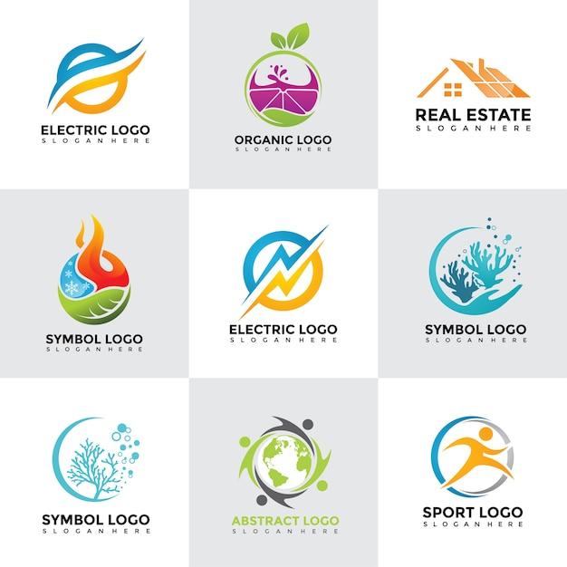Modern Logo Design Templates Set Vector Premium Download - Logo creator templates