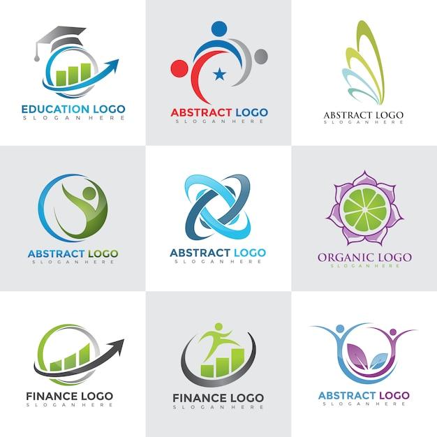 Modern logo design templates set Premium Vector