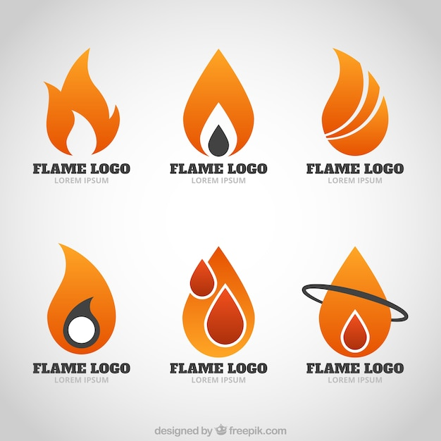 Modern logos of flames Premium Vector