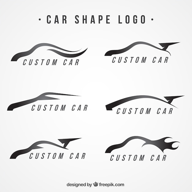 modern logos with car shapes vector