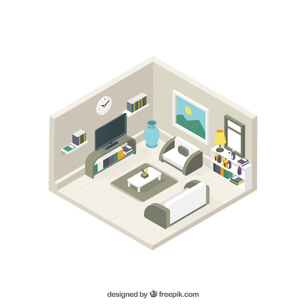 Modern lounge interior in isometric\ style