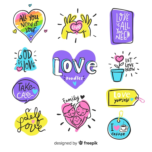 Modern love composition with colorful style Free Vector