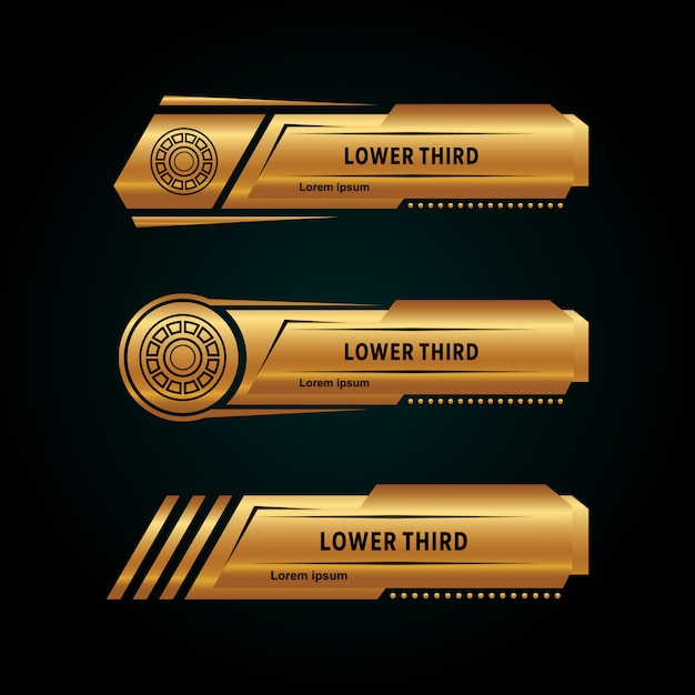 Modern lower third collection gold color Premium Vector