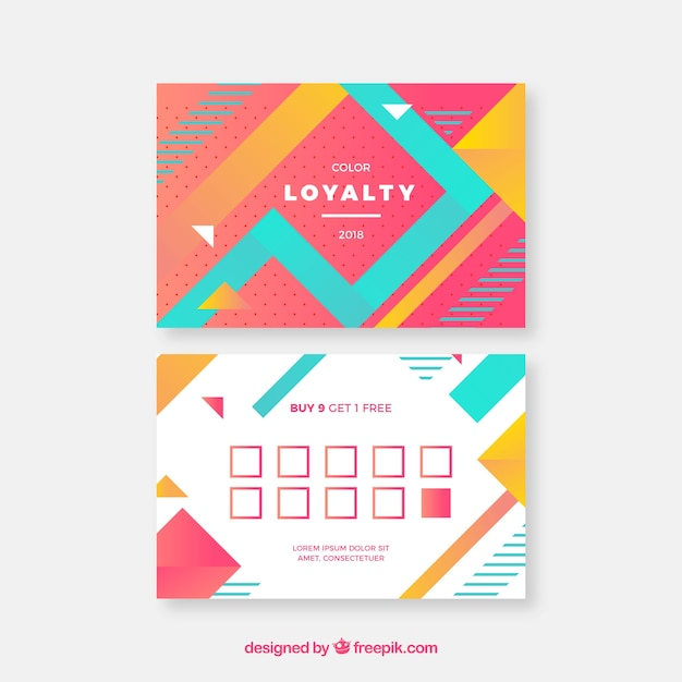 Modern loyalty card template with colorful style Free Vector