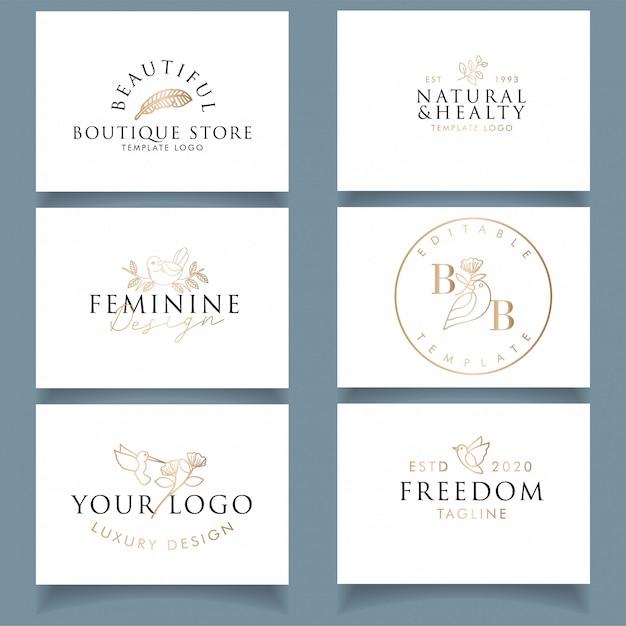 Modern luxury business card design with editable feminine bird logo Premium Vector