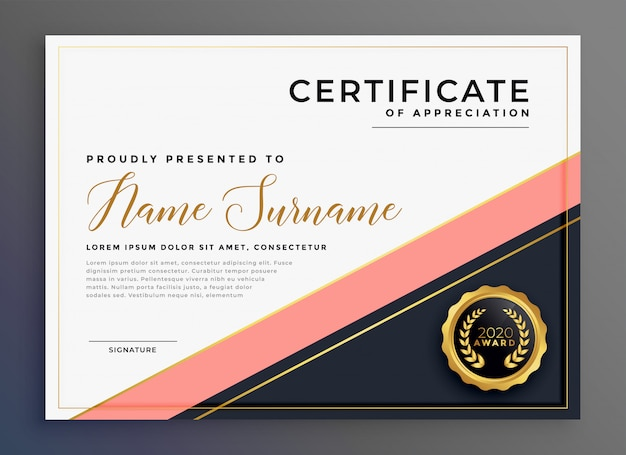 Modern luxury certificate of appreciation template Free Vector