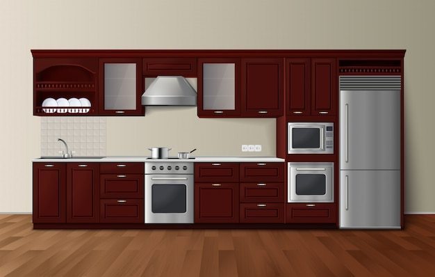 Modern luxury kitchen dark brown cabinets with built-in microwave oven realistic side view image vec Free Vector