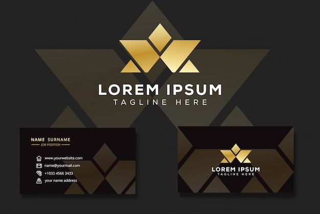 Modern luxury letter w and a logo, triangle star logo with business card Premium Vector