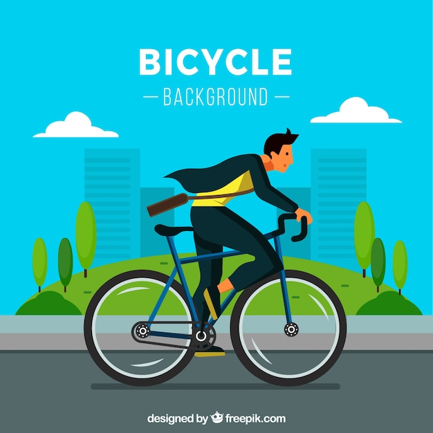 Modern man riding bike with flat design
