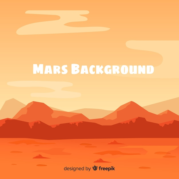 Modern mars background with flat design Free Vector