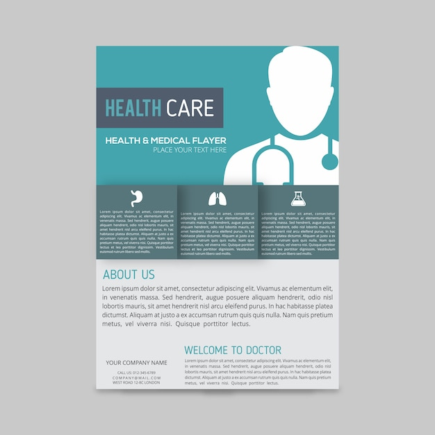 Modern medical brochure template vector free download for Medical office brochure templates