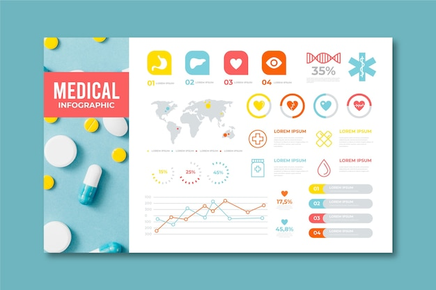 Modern medical infographic with photo Free Vector