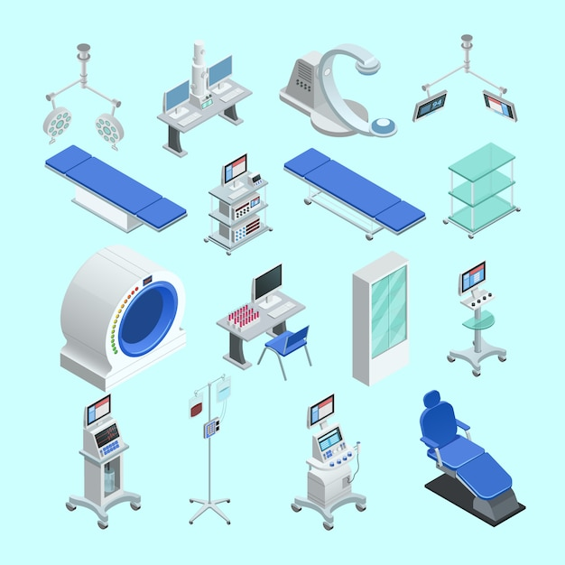 Modern medical surgery and examination rooms equipment Free Vector