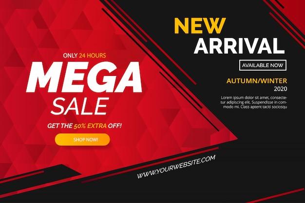 Modern mega sale banner template Free Vector