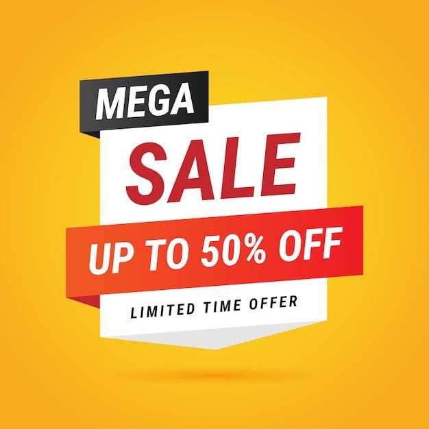 Modern Mega Sale Yellow Banner Design Free Vector