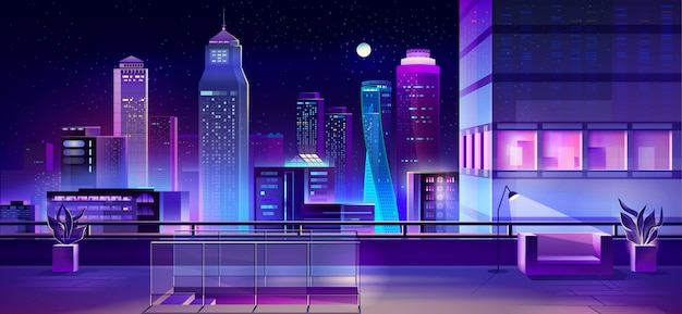 Modern megapolis at night, urban town architecture Free Vector