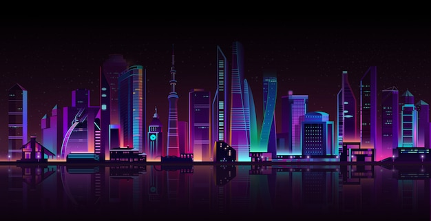 Modern megapolis on river at night. Free Vector
