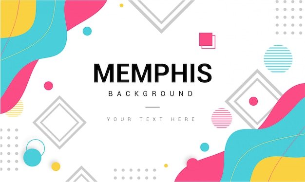 Modern memphis background with elements Free Vector