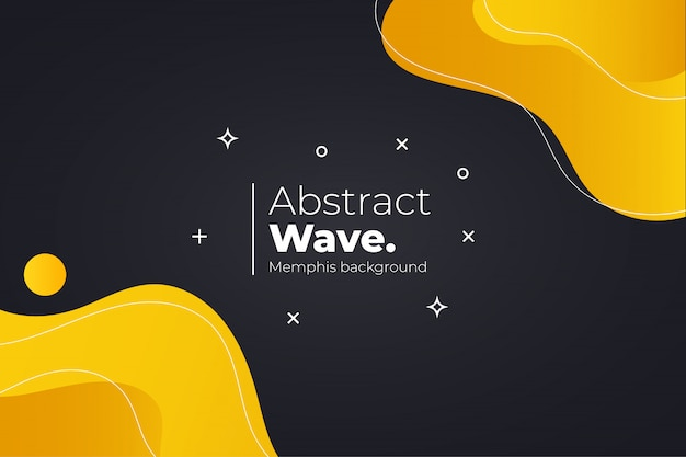 Modern memphis background with wavy shapes Free Vector
