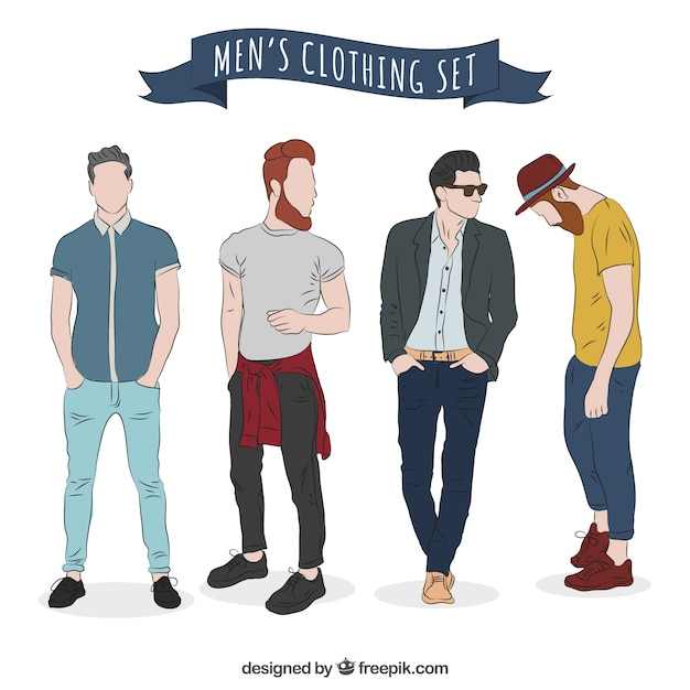 Modern men's clothing set Free Vector