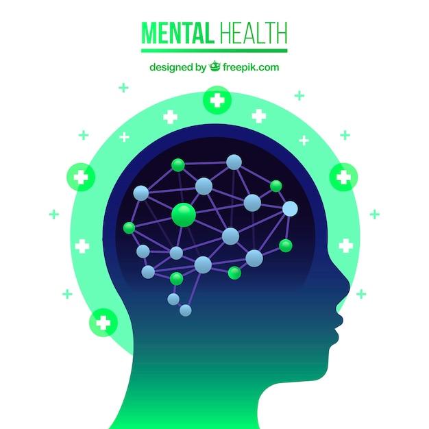 Современная концепция психического здоровья с плоской конструкцией Premium векторы