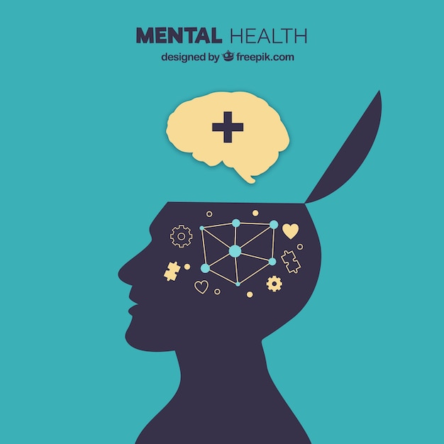 Modern mental health concept with flat design Free Vector