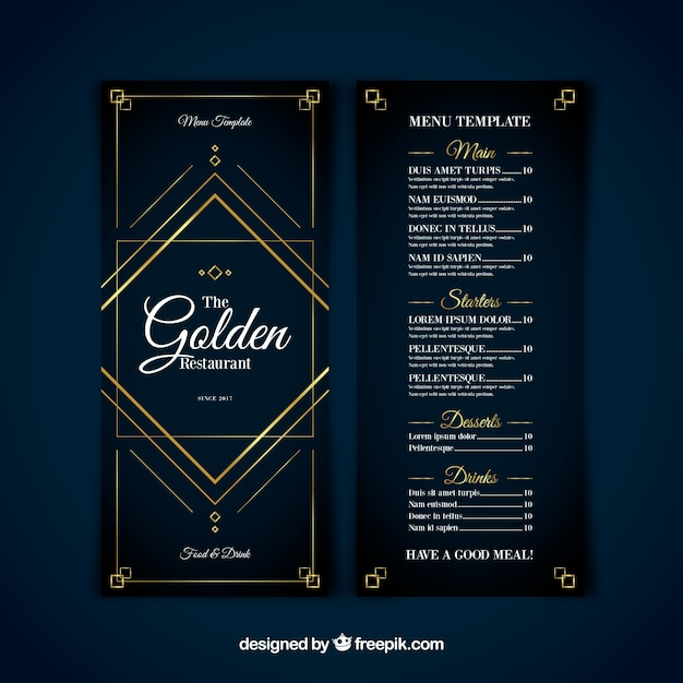 modern menu template with golden ornaments vector free download