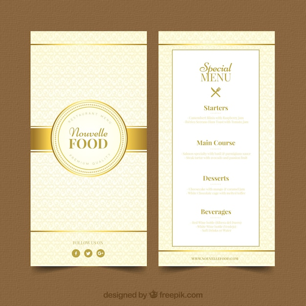 modern menu template with golden style vector free download
