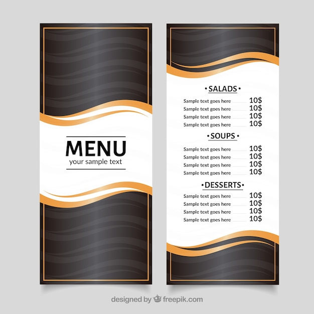 modern menu template with golden waves vector free download