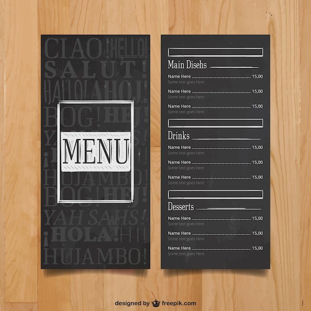 Modern menu template Vector | Free Download
